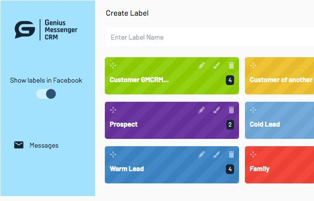 Genius Messenger CRM Labels