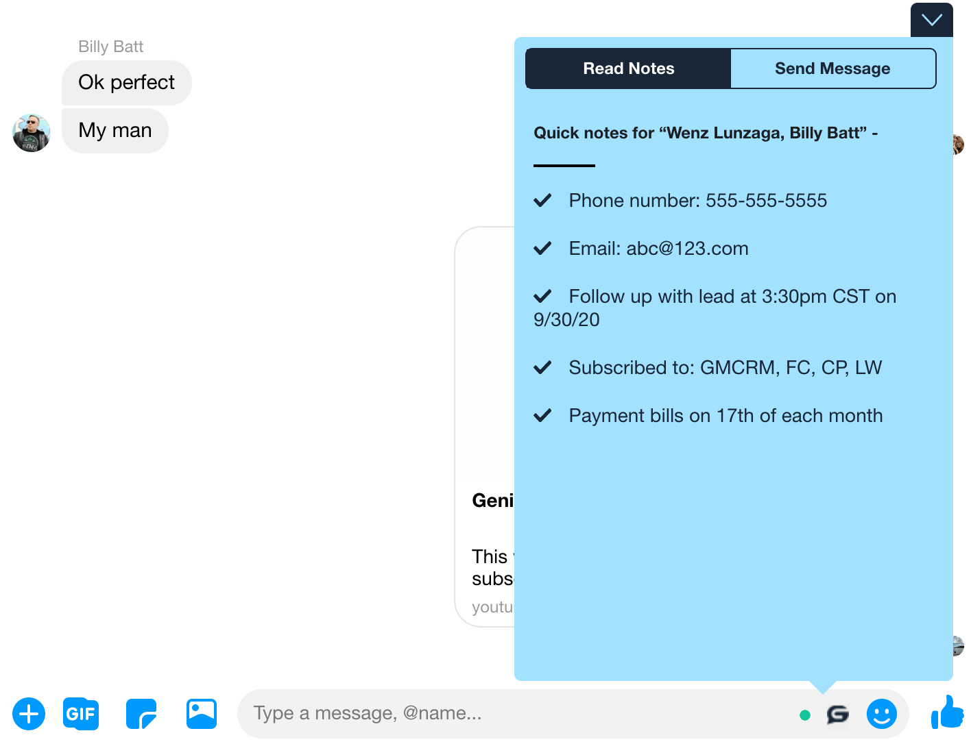 Genius Messenger CRM Notes in Messenger